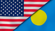 The flags of United States and Palau. News, reportage, business background. 3d illustration