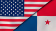 The flags of United States and Panama. News, reportage, business background. 3d illustration
