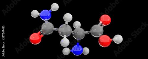 3d glass chemical structure of asparagine molecule Wallpaper Mural