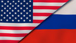 The flags of United States and Russia. News, reportage, business background. 3d illustration