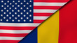 The flags of United States and Romania. News, reportage, business background. 3d illustration