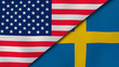 The flags of United States and Sweden. News, reportage, business background. 3d illustration