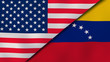 The flags of United States and Venezuela. News, reportage, business background. 3d illustration