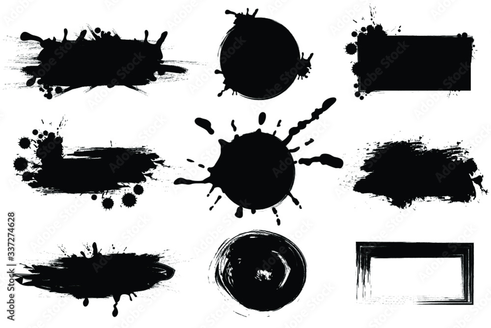 Fototapeta Vector abstract japanese ink on white paper Background for web,game design, design cover, presentation, invitation, flyer, poster, Dark Smear , wallpaper , Grunge mud art