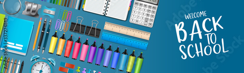 Cuadros en Lienzo Blue school board banner background with colorful bright education 3d realistic supplies