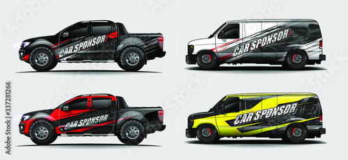 Fototapeta set of vehicle graphic kit vector. Modern abstract background for car wrap branding and automobile sticker decals livery    obraz