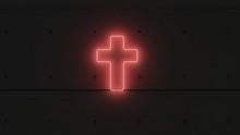 Símbolo Cruz Neón Rojo.