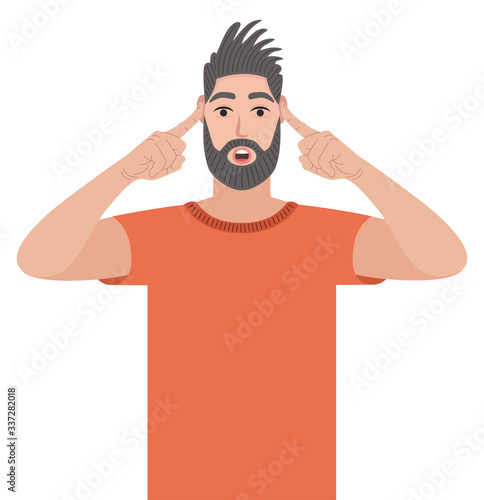 Man covering ears with fingers with annoyed expression for the noise of loud sound or music while standing Canvas Print
