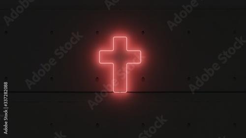 Photo Símbolo cruz neón rojo.
