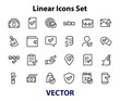 A simple set of claim related vector line icons. Contains icons such as security guarantee, received document, read message, verification, quality and much more. Editable Bar. 480x480