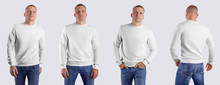 White Blank Heather Template, Front View, Back, Male Casual Sweatshirt, Long Sleeve Clothing On A Man In Blue Jeans, For Design Presentation.