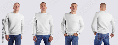 Fototapeta White blank heather template, front view, back, male casual sweatshirt, long sleeve clothing on a man in blue jeans, for design presentation. obraz