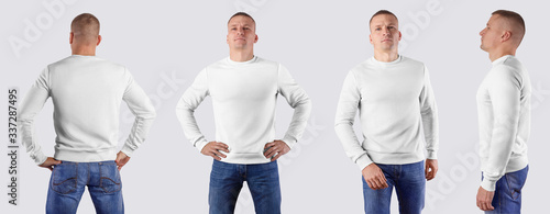 Fotografia Mockup of a white male sweatshirt on a man in blue jeans, long-sleeved clothing, front, back, side view, isolated on background