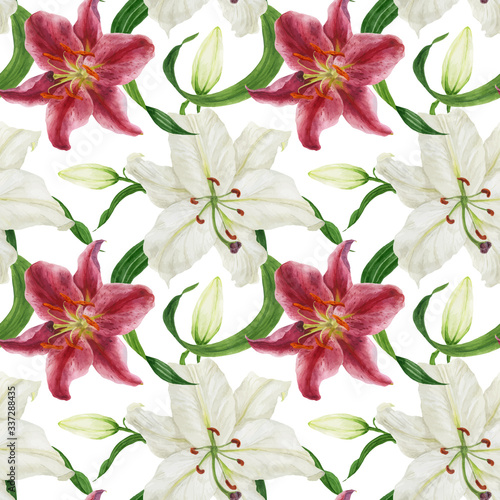 Tropical white and pink lilies traced watercolor seamless pattern Fototapet