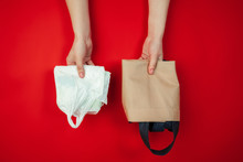 Shopping Bags. Eco-friendly Life - Organic Made Recycle Kitchenware In Compare With Polymers, Plastics Analogues. Home Style, Natural Products For Recycle And Not Harmful To The Environment And Health