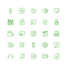 Linear Icons On The Theme Of Multimedia, Video Music.