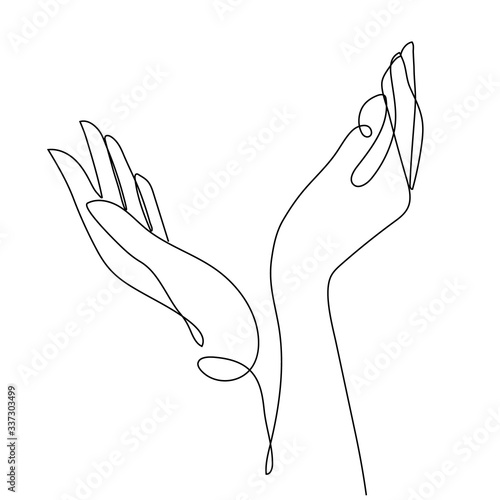 One line hand drawing. arms reaching up, an Islamic praying and a symbol of faith mosque. The concept of a religious image of a Muslim.