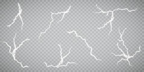 Set of lightnings. Thunder-storm and lightnings. Magic and bright lighting effects. Vector Illustration
