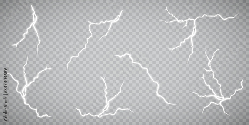 Obraz Set of lightnings. Thunder-storm and lightnings. Magic and bright lighting effects. Vector Illustration - fototapety do salonu