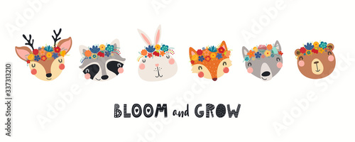 Banner with cute animals in flower crowns, quote Bloom and Grow. Hand drawn vector illustration. Isolated objects on white. Scandinavian style flat design. Concept for children spring, summer print. © Maria Skrigan