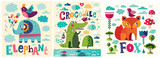 Colorful baby collection of baby posters with funny animals crocodile, fox and elephant