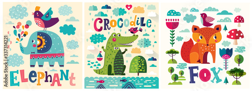 Colorful baby collection of baby posters with funny animals crocodile, fox and elephant © moleskostudio