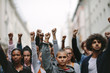 Leinwandbild Motiv Activists protesting on the street