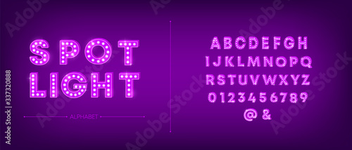 Fotografie, Tablou 3d light bulb alphabet with purple frame isolated on dark pink background