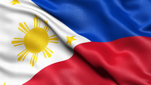 3D Illustration Of The Flag Of Philippines Waving In The Wind.
