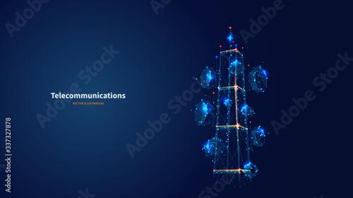 Valokuvatapetti Blue abstract 3d isolated  telecommunication tower