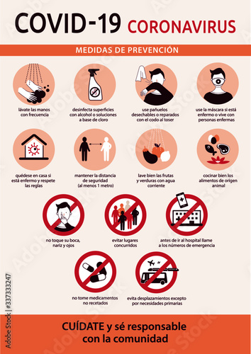 Infographics in spanish language on prevention measures for Coronavirus infection. Vectorial illustration about covid-19 pandemic: advices and safe behaviours to fight it.