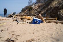 Debris From Erosion On Lake Michigan Beach