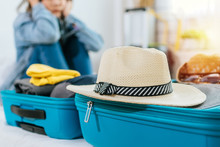 Focus Vintage Hat On Suitcase ...