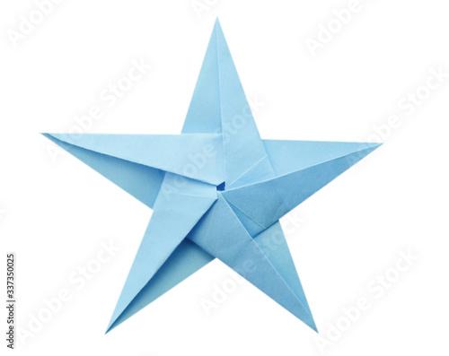 Obraz na plátně Blue origami paper star isolated white