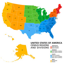 United States, Census Regions And Divisions, Political Map. Region Definition Widely Used For Data Collection And Analysis. The Most Commonly Used Classification System. English. Illustration. Vector.
