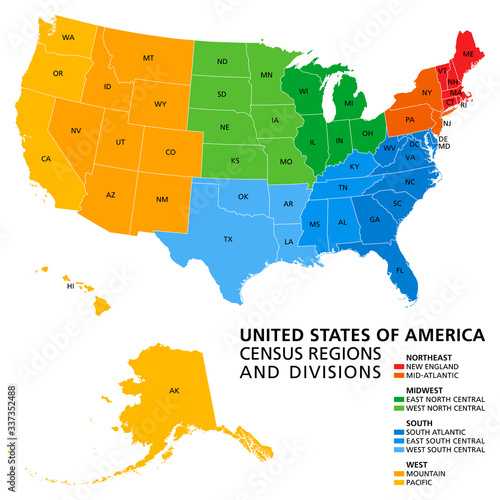 United States, Census regions and divisions, political map Canvas