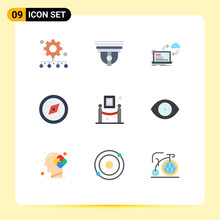 9 Thematic Vector Flat Colors And Editable Symbols Of Art, Direction, Cam, Compass, Dashboard