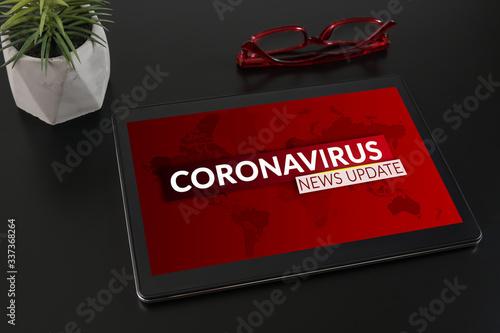 Coronavirus or Covid-19 pandemic News Update background concept. © adzicnatasa