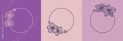 Set of orchid flower frames and monogram concept in minimal linear style Canvas-taulu