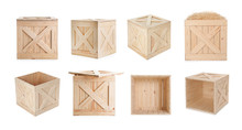 Set Of New Wooden Crates On Wh...