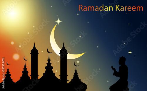 Illustration vector graphic of Ramadan Islamic, Good for Background, wallpaper, etc Canvas Print
