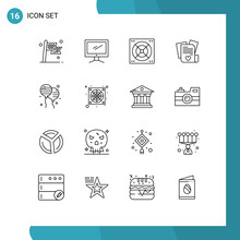 16 User Interface Outline Pack Of Modern Signs And Symbols Of Bloon, Heart, Imac, Love, Bathroom