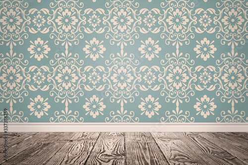 Obraz Blue wallpaper and wooden floor in room - fototapety do salonu