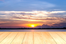 Wooden Plank On Lake During Su...