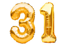 Number 31 Thirty One Made Of Golden Inflatable Balloons Isolated On White. Helium Balloons, Gold Foil Numbers. Party Decoration, Anniversary Sign For Holidays, Celebration, Birthday, Carnival