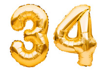 Number 34 Thirty Four Made Of Golden Inflatable Balloons Isolated On White. Helium Balloons, Gold Foil Numbers. Party Decoration, Anniversary Sign For Holidays, Celebration, Birthday, Carnival