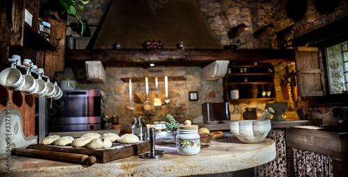 Preparazione impasto fatto in casa, cucina italiana, lievitazione naturale Wallpaper Mural