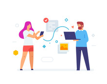 Girl Throws Data To Laptop Guy, Mobile Phone Screen, Smartphones Tablets User Interface Social Media.Flat Illustration Icons Infographics. Landing Page Site Print Poster.