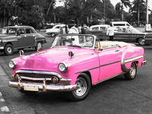 Colorkey Of Vintage Pink Convertible Car On The Street Of Havana Cuba