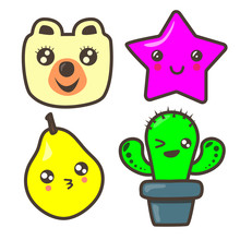 Set Of Funny Pictures: Bear, Asterisk, Pear, Cactus. Kawaii Illustration.